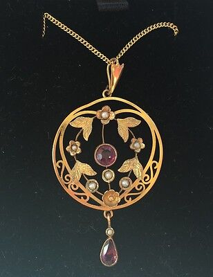 9ct Gold Amethyst And Pearl Edwardian Necklace