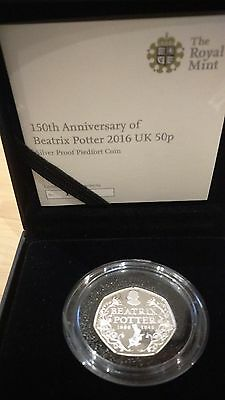 ROYAL MINT150th ANNIVERSARY BEATRIX POTTER 2016 SILVER PROOF PIEDFORT 50p