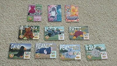 lot of 10 TY Beanie Baby Trading card