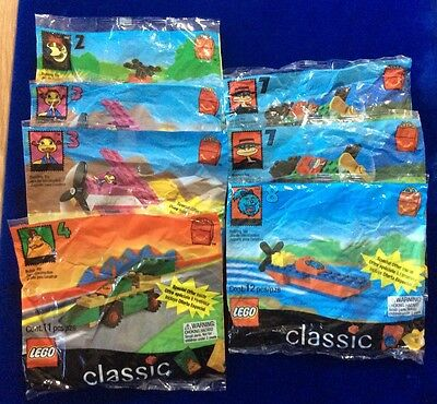 Lot Of Mcdonalds Happy Meal Lego Classic Toys From 1999- New In Pkg- 7 Pieces