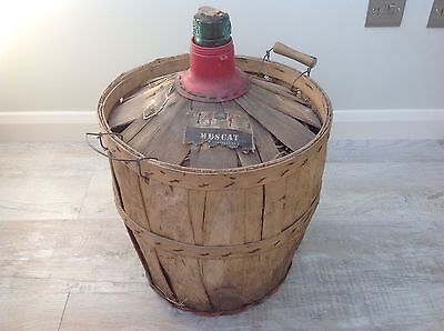 Large Old French Wine Bottle In Original Straw And Wooden Casing