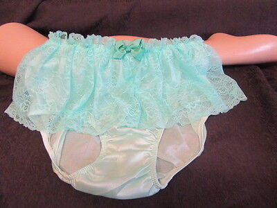 Vtg Sissy Nylon Panties Knickers Green With Lace Skirt &  Bows