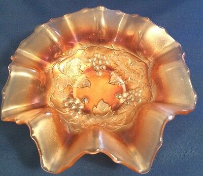 "Vintage Dugan Golden Grape 7"" Carnival Glass Bowl"
