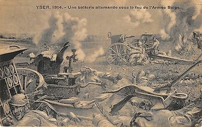 POSTCARD  MILITARY  WWI  YSER  1914  German  Battery in action