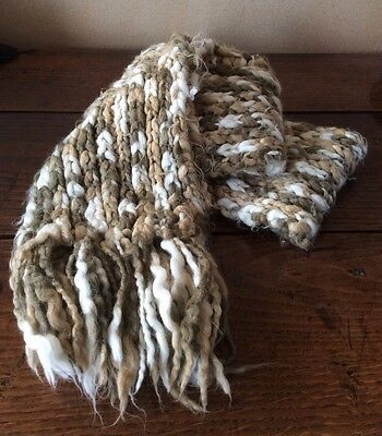 H&M Brown White Soft Warm Knitted Woolly Chunky Scarf