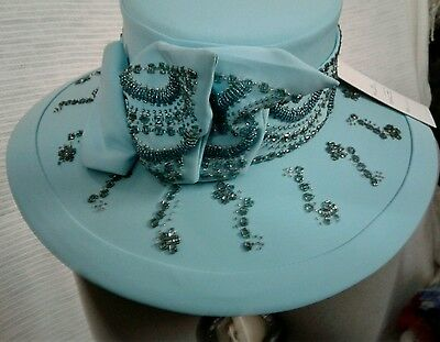 Ben Marc Kentucky Derby Style Church Hat - Tourquoise with Rhinestones