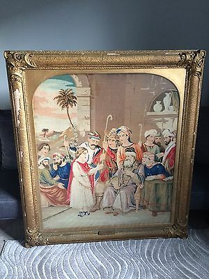 Antique 19th Century Religious Art Tapestry Needlepoint Large 4ft