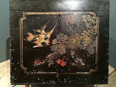 Vintage Antique Japanese Hand Painted Black Lacquer Box Casket Birds Bamboo