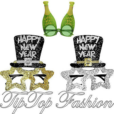 Gold & Silver Black Happy New Year Glasses Shades For Christmas Party FancyDress