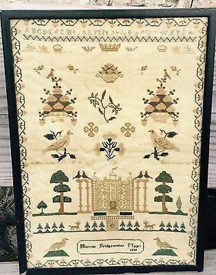 Beautiful 19thc Grand Country House Sampler. BRIDGEWATER 1839 Southwest