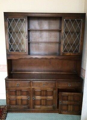Priory Style Dark Oak Dresser, 3 Drawers Over 3 Door Cupboard