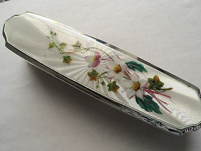 Vintage Silver Guilloche Enamel Floral Decor Hm 1959 Cloths Brush Mappin & Webb
