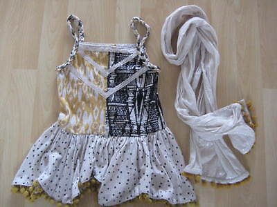 Girls Aged 5 Years Cream / Mustard Top and Scarf Set from Next