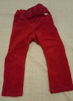 Baby Girls Next Red Corduroy Jeans Cords Burgundy 18-24 Months