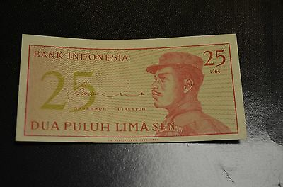 1964 25 Sen Indonesia Currency Unc Banknote Note Asia Gem