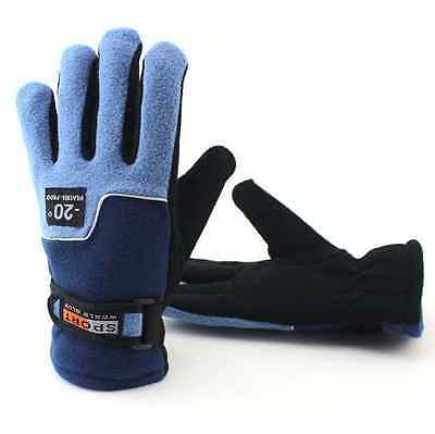 Winter Womens Thermal Warm Windproof Gloves Outdoor Driving Ski Gloves Blue