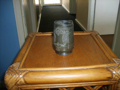 """Antique Pewter Tankard With Beautiful Design. Just Under 4"""" See Photos"""