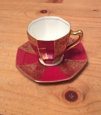 Royal Doulton Guided On Red Ground Hex Cup & Saucer Duo