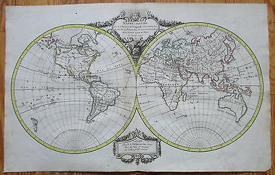 Vaugondy Decorative Original Map of the World Hemispheres - 1786