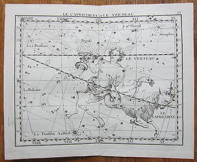 Flamsteed Astronomy Original Celestial Map Capricorn Aquarius - 1776