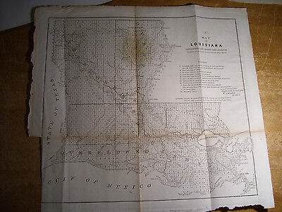 """1854 Map Of Louisiana (18x18"""") Prepared For Surveyor General's Annual Report"""