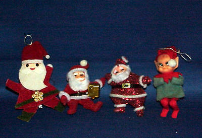 Vintage Flocked Santa, Felt Santa And Pixie Elf Lot Of 4 Must See