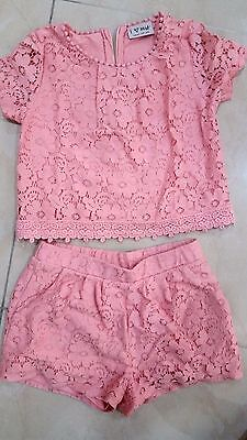 Girls NEXT pink lace shorts and top set coordinates size 6 years EXCELLENT cond.