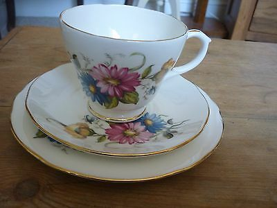 Pretty Duchess Floral Trio - Cup, Saucer, Side Plate