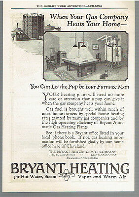 Vintage, Original, 1926 - Bryant Automatic Gas Heating Plant Advertisement