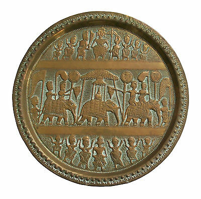 Vintage South Asian Brass Plate - Hand Hammered - #10 - India - Mid 20th Century
