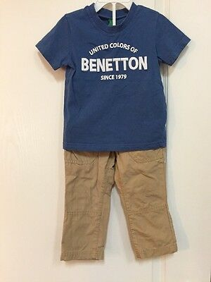 Toddler Boys United Colors Of Benetton Logo T Shirt And Cargo Pants 2t