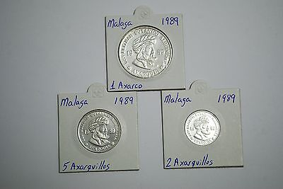 lote de 1 axarco , 2 axarquillos y 5 axarquillos - plata - 1989 malaga