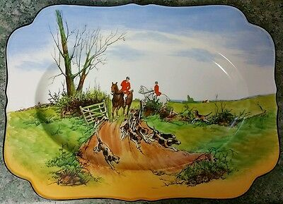 Crown Ducal Ware, Hunting Themed Platter / Large Plate, hand painted decorative
