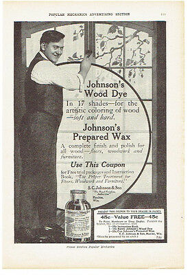 Vintage, Original, 1914 - Johnson's Wood Dye and Prepared Wax Advertisement