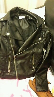 Girls Black Leather Look Zipped Jacket**Age 8-9 Years