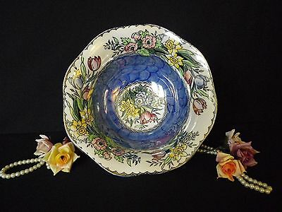 Vintage Maling Lustre Blue Fruit Bowl with multi coloured spring flowers