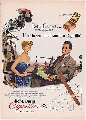 I Love To See A Man Smoke A Cigarillo Vintage Illustrated 1951 Tobacco Print Ad