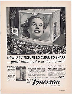 Emerson TV 1950s Television Set 1953 Vintage Original Print Ad Free Shipping