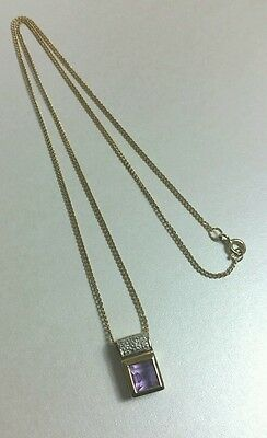 Beautiful Vintage 9ct Yellow Gold Amethyst and Diamond Necklace