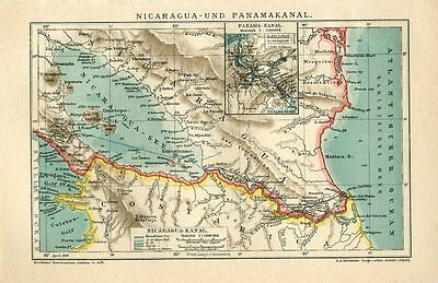 1909 PANAMA CANAL and NICARAGUA CANAL Antique Map dated