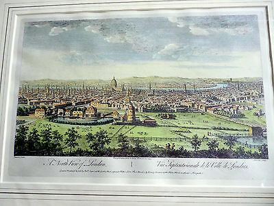 """Hand Coloured Engraving """"A North View of London"""" Dated 1753"""
