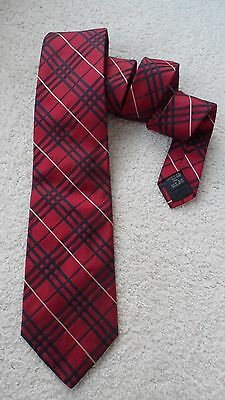 Authentic Burberry Men's Tie Red Plaid Holiday 100% Silk Rare