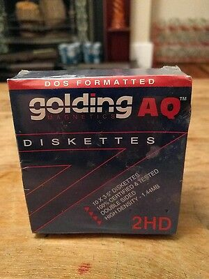 """10 Golding Aq Dos Formatted High Density Floppy Diskettes - 3.5"""" / 90Mm"""