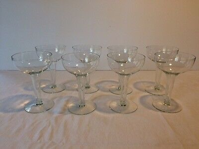 Vintage Set of 8 Hollow Stem CHAMPAGNE GLASSES Coupes saucers