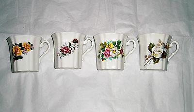 vintage set of 4 Royal Grafton fine china cups assorted floral patterns
