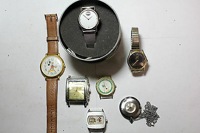 Lot of 7  Vintage Wrist  Watches Mixed Advertiment Novelity Mickey Mouse +