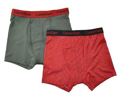 Calvin Klein Boys Red 2 Pack Athletic Boxer Briefs Size 6/7 8/10 12/14 16/18
