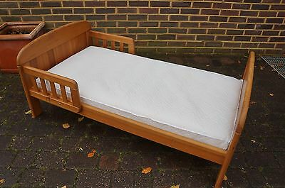 Sheratons Antique Pine Single Childrens Junior Toddler Bed & Mattress & Guard