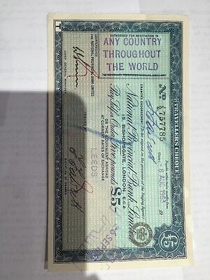 National Provincial Bank Limited Travellers Cheque 1963