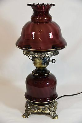 Vintage Amethyst Swirl Glass Shade Hurricane Table Lamp Gone With The Wind